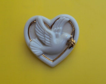 LENOX Signed Porcelain Dove of Peace Heart Shaped Brooch Pin