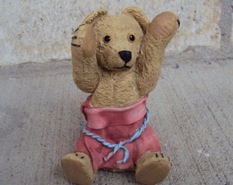 Bernard Bear with Red Pants Figurine, 1994 Enesco, Centimental Bears , Packaged In Original Box