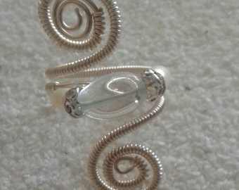 Whimsy wire wrapped bohemian adjustable ring item #3468 aquamarine pearl crystal