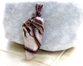 Wire Wrapped Jewelry Handmade Jasper Pendant - Woven wire - Wire Wrap Jewelry - Wire Wrap Pendant - Earthy Jewelry - Made in Vermont