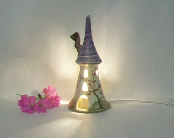 Fairy Tower - Night Light/Garden Decoration - Rapunzels Tower -  Wheel Thrown - Hand Painted Rose Vine - Ready to Ship Now - Actual Tower