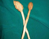 two hand carved wooden hair sticks, pair of wood hair sticks for long hair, handmade woodcarvings by WoodforddellDesigns, OOAK