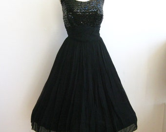 Vintage 50s Formal Dress Black Sequins & Chiffon Full Skirt Party Dance Dress
