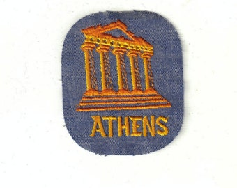 City of Athens Greece Ancient City  Collectible Vintage Sewing Patch Applique