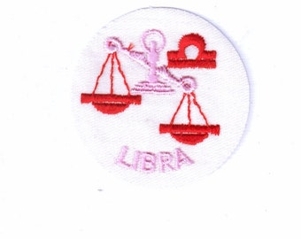 Libra Zodiac Horoscope Authentic Collectible Iron On  Vintage Patch Applique