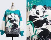 Vintage 80s Panda Bear Sweater / 1980s Animal Sweater Slouchy Knit, m l