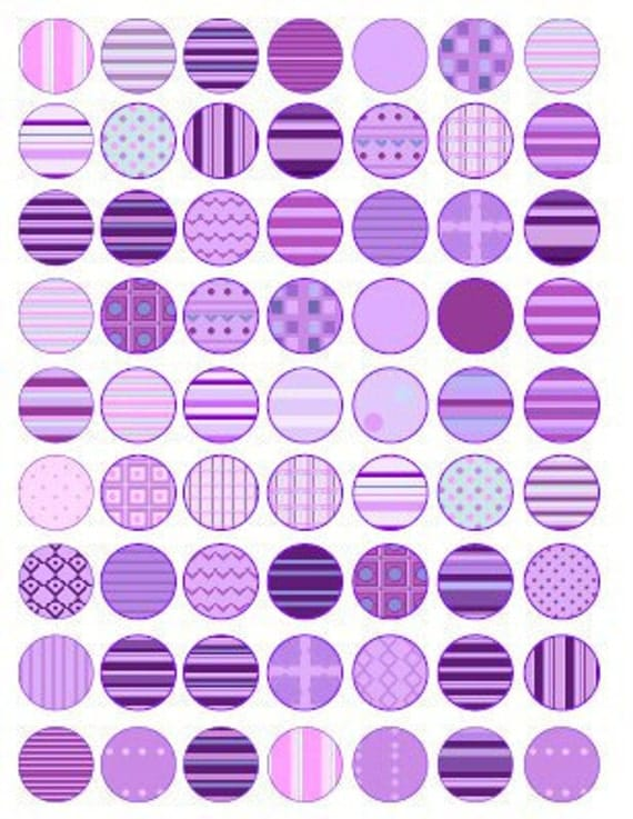 Purple One Inch Circles - Printable PDF - Digital Collage Sheet - Embellishment - Scrapbooking, Card Making - Instant Download