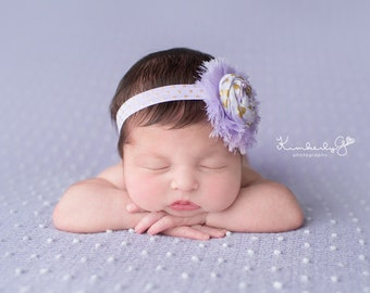 Thistle-- lavender and gold rosette with chiffon headband bow