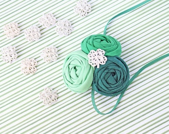 My Goodness Green - triple rosette green ombre st patty's headband bow