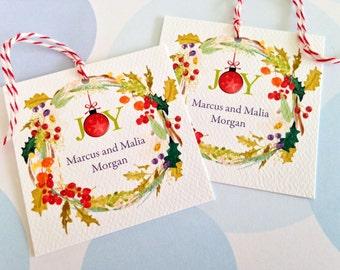 Christmas Gift Tags, Personalized Christmas Tags, Custom Holiday Tags, Set of 24