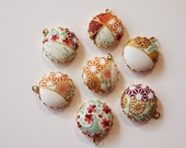 Japanese Print Fabric Charms 20mm Pastel Gold set of 7 Charms DIY Earrings, Necklace, DIY Jewelry, Bridesmaid