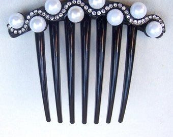 Vintage French Twist comb rhinestone hair accessory hair jewelry decorative comb headpiece headdress (AAC)