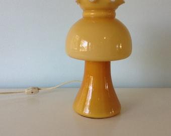Seventies Vintage Lamp Mushroom Glass Lantern Mustard Yellow, Side Lamp, Accent Lamp, Lantern, Hurricane Lamp, Kitsch, Murano Glass Lamp