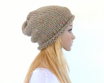 Light brown knit hat , Chunky slouchy beanie ,  slouchy hat ,  Mens beanie , Unisex beanie - womens hat