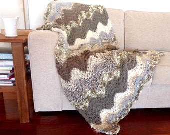 Brown Knit Blanket Throw Grey Throw Hand knitted blanket Thick grey blanket Wedding gift