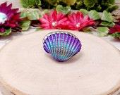 Purple Titanium Shell Ring