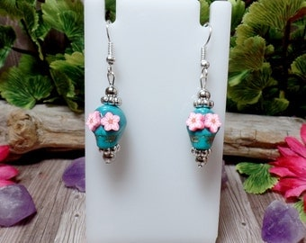 Blue Sugar Skull Earrings - Dia Del Los Muertos - Day of the Dead - Clearance