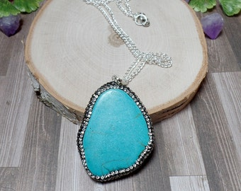 Blue Howlite Pave Necklace