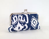 Navy Blue and White Clutch. Navy Ikat Clutch. Ikat Pattern Clutch. Navy Bridesmaid Clutch. Navy Evening Bag. Fabric Clutch. READY TO SHIP