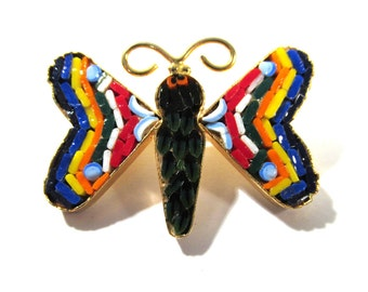 Micro Mosaic Butterfly Pin VINTAGE MICRO Mosaic Murano Italy Glass Micro Mosaic Pin Glass Millefiori Vintage Jewelry Ready to Wear (L200)