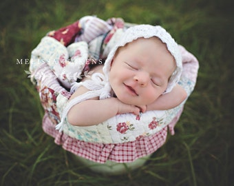 White Newborn Bonnet Hat Lace Bonnet  - Baby Hat for Girls - Great Photography Prop for Newborn Portraits - Lacy Baby Bonnet - Baby Girl Hat