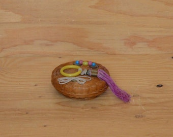 Vintage Woven Small Asian Basket With Unique Glass Beads & Oriental Detail