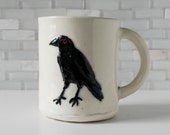 Raven Mug | bird carving design | coffee mug tea cup | black white | hand-built handmade goth gothic crow raven mug | made to order