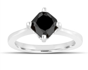 Cushion Cut Black Diamond Solitaire Engagement Ring 1.70 Carat 14K White Gold Unique Gallery Design handmade