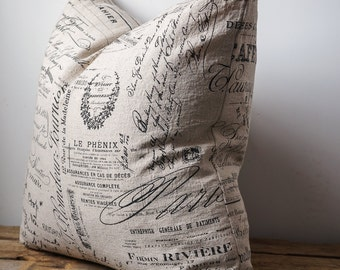 French linen script pillow cover