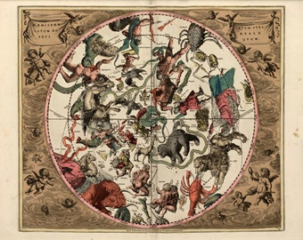 The Northern Celestial Hemisphere,1708, Archival Quality Print