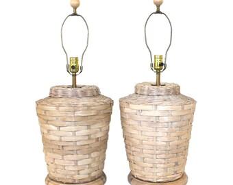 Pair Vintage Wicker & Maple Lamps