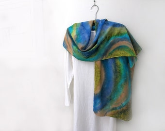 Hand-painted 100% Silk Scarf, Blue, Greens ,Turquoise,Taupe, Long and Wide,