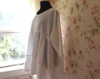 Washed Linen Dress 12 PocketsTunic Sweet Prairie Lagenlook  Made to Order One Size