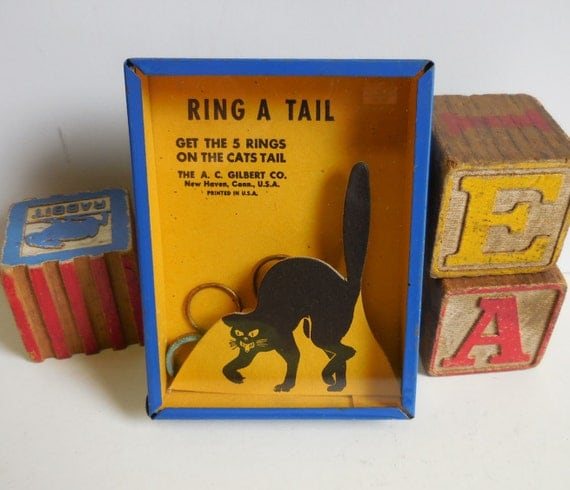 Items Similar To Vintage Toy 1940 S A C Gilbert Puzzle Game Ring A Tail Blue Metal Amp Glass