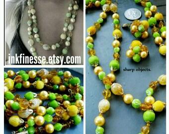 Lemon Lime - 1950s retro set, green, yellow multi strand bakelite beaded statement necklace & clip on earrings