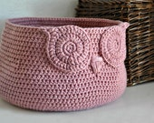 Rose Pink Owl Basket Crocheted Bin Neutral Baby Room Decor Woodland Nursery Decor Home Organizer