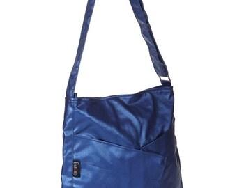 Women's metalic blue Shoulder Bag Messenger bag Purse, Everyday Bag, Comfortable stylish purse, Vegan, Cruelty Free - Diagonal Origami