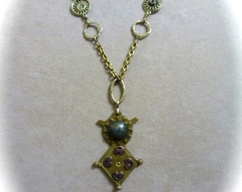 Rustic Boho Chic Necklace with Assemblage Pendant