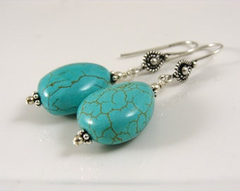 Turquoise teardrop bali sterling earrings