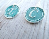 Blue Patina Jewelry, Handmade Initial, Vintage Wax Seal