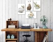 bunny postcard set, easter postcard set of 4, animal silhouette art, gray, taupe, rabbit print, woodland nursery decor, minimal animal print