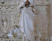 French Plaster Statue Jesus Christ Sacred Heart - 12.5 Inches Tall (32cm)