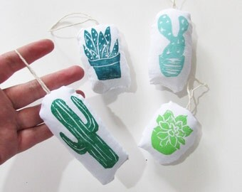Cactus and Succulent Ornament Set of 4. Hand woodblock Printed. Teal, Mint and Green.