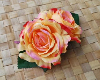 Beautiful double roses in apricot and pinks with green leaves  pin up vintage rockabilly 40s 50s burlesque hairflower hairpiece