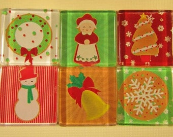 Glass Fridge Magnets, Set of 6 Christmas Refrigerator Magnets & Storage Tin