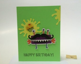 Monster Birthday Card, Little Monster Birthday Card for Boys, made on recycled paper, comes with envelope and seal