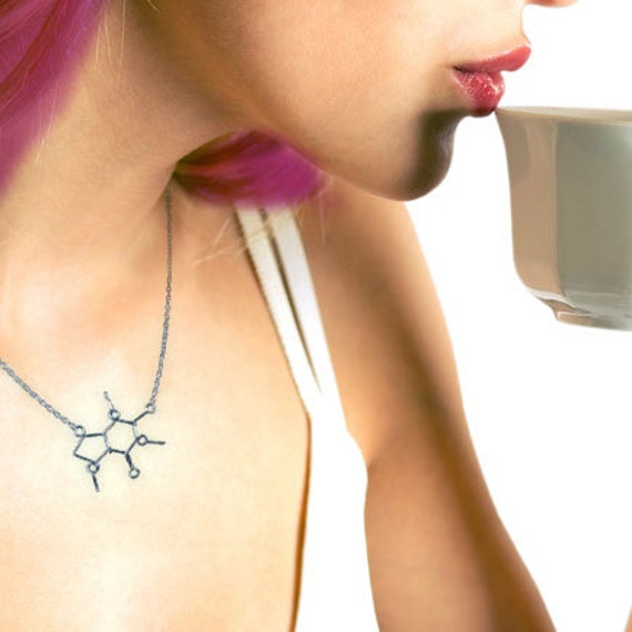 Caffeine Molecule Necklace - Coffee Chemistry Jewelry - Great Gift for Boss or Barista