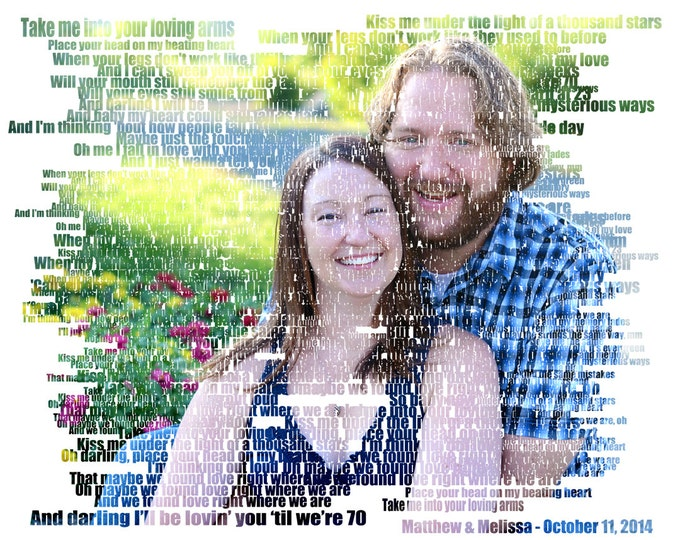 Custom Word Art Text Art Photo Gift Portrait On Canvas Wedding Vows Song Lyric Gift  16x20