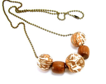 Clay and Wood Beaded Necklace, Polymer Jewelry, Mokume Gane