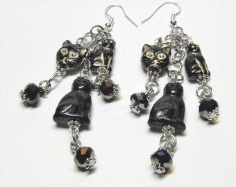 Black Cat Earrings, Sterling Silver and Lampwork Halloween Jewelry, Halloween Long Dangle Earrings, Black Cat Jewelry, Autumn Earrings, OOAK